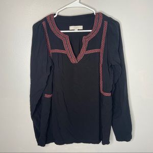 Loft Long Sleeve Blouse with Embroidered Trim Med